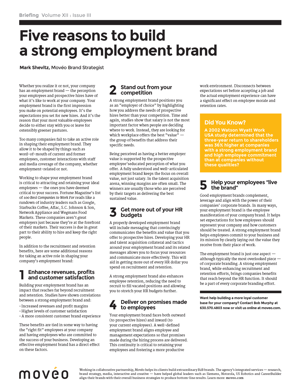 white papers mov eacute o corporate branding often drops off inside the organization but a strong employee brand comes a big payoff