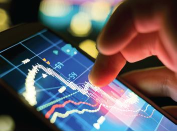 stock charts on a phone or tablet